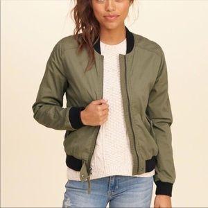 Hollister Khaki cotton twill bomber jacket S